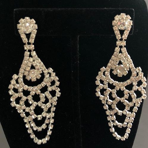 Silver like lace clear Austrian crystal pierced earring
