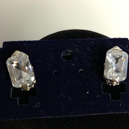 Clear rectangular pierced earring