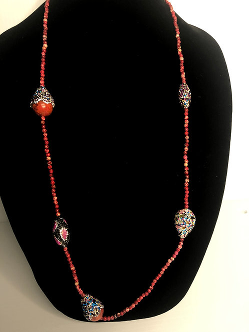 Red wood beads necklace encrusted in Swarovski crystals