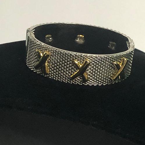 "Designer look ""X"" hinged bracelet design in two tone"