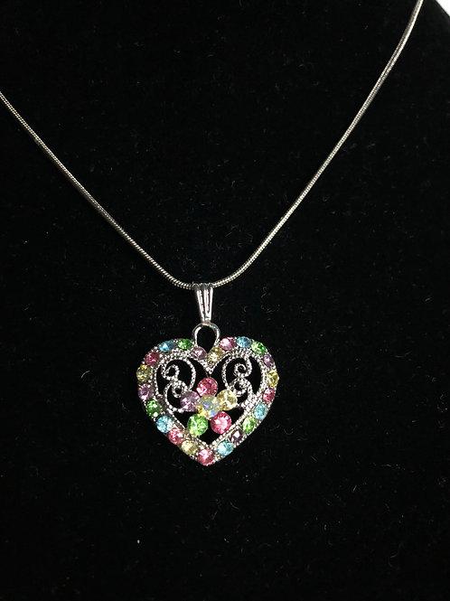 Multi colored Austrian crystal heart pendant