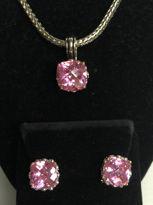 Designer look Pink pendant & Lever Back Earrings