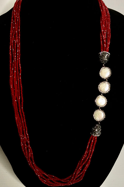 Red multi strand crystal necklace Freshwater Cultured pearl coin