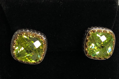 Designer look SPRING GREENCubic Zircon lever back earrings