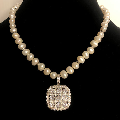 White FWP necklace with square pendant