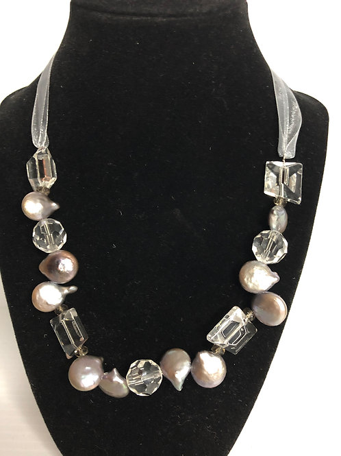 Gray Ribbon  necklace in gray coin pearls and Lucite crystals