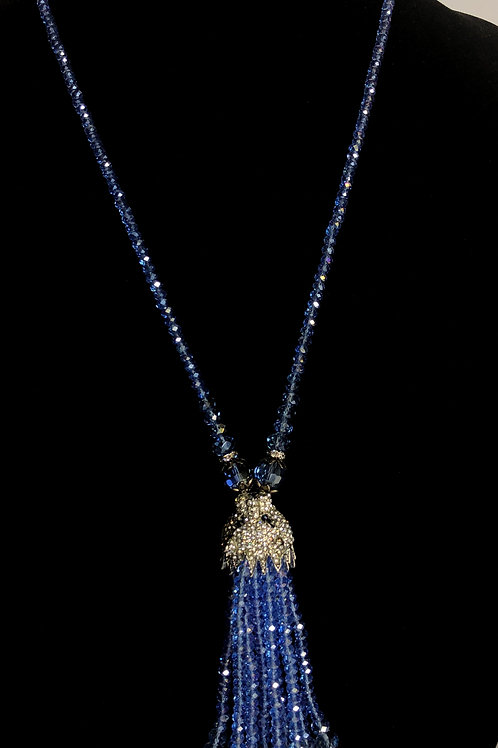 Blue violet crystal necklace with lion head with tassel