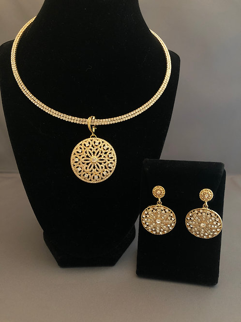 Gold Austrian crystal choker with pendant & Round Earrings