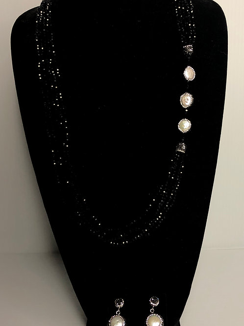 Black Czech crystals with large white Freshwater pearl necklace