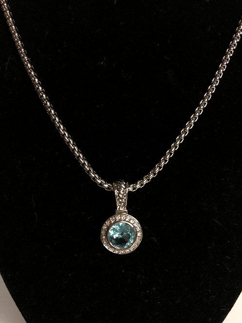 Designer look ROUND silver SKY BLUE pendant