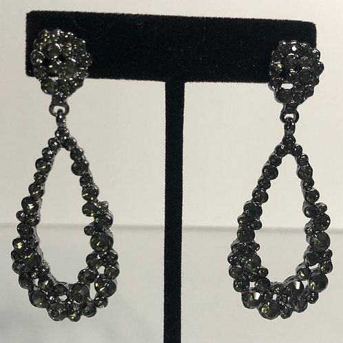 Black cubic zircon crystals tear drop pierced earring