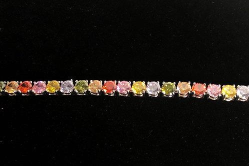 Multi color Gemstone sterling silver 925 bracelet