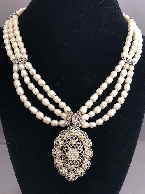 Triple strand antique pendant Freshwater Cultured pearl necklace with adjustable