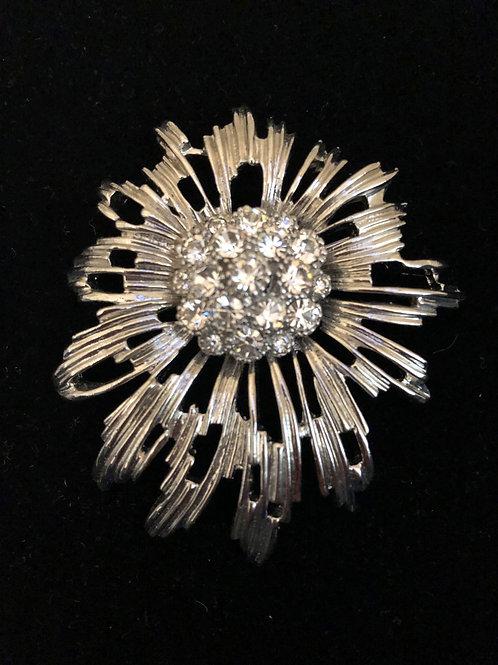 Silver clear Austrian crystal brooch