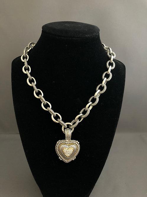 Designer look silver detachable heart pendant on heavy chain