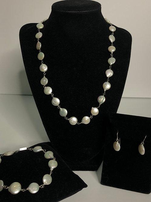 3 pc set - white Freshwater coin pearl set