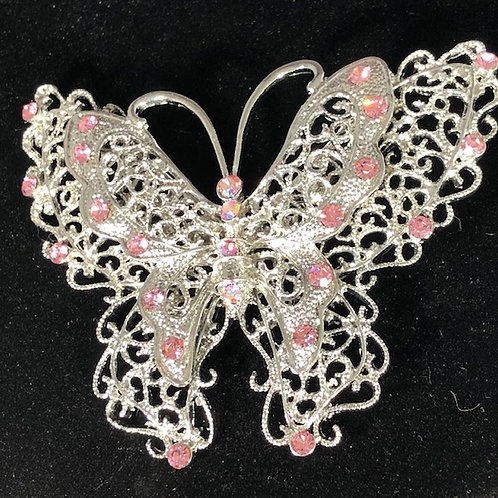Large butterfly brooch with pink crystals