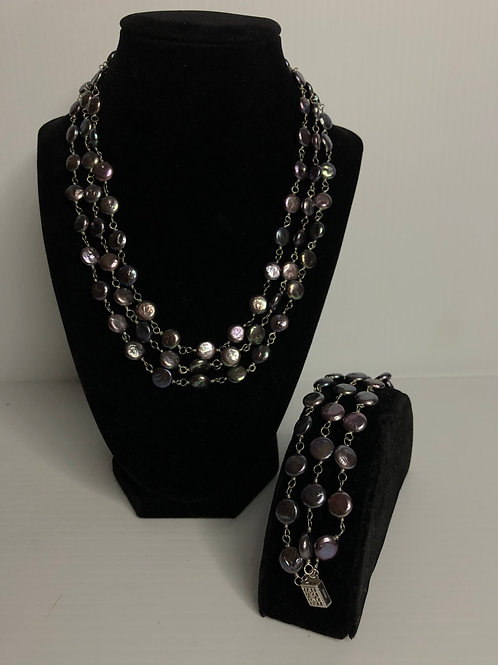 Triple strand FRESHWATER Pearl coin pearl set in 925 S/S