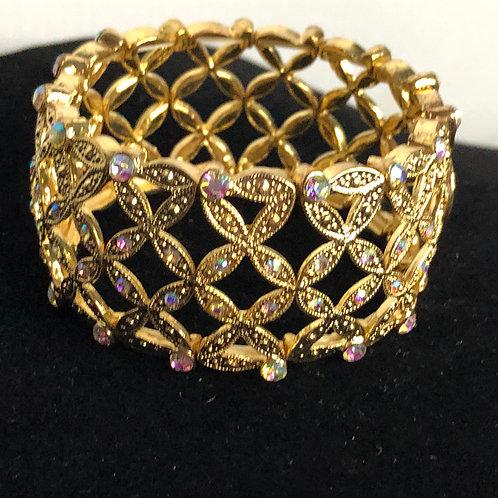 Gold design elastic bracelet with Aurora Borealis crystals