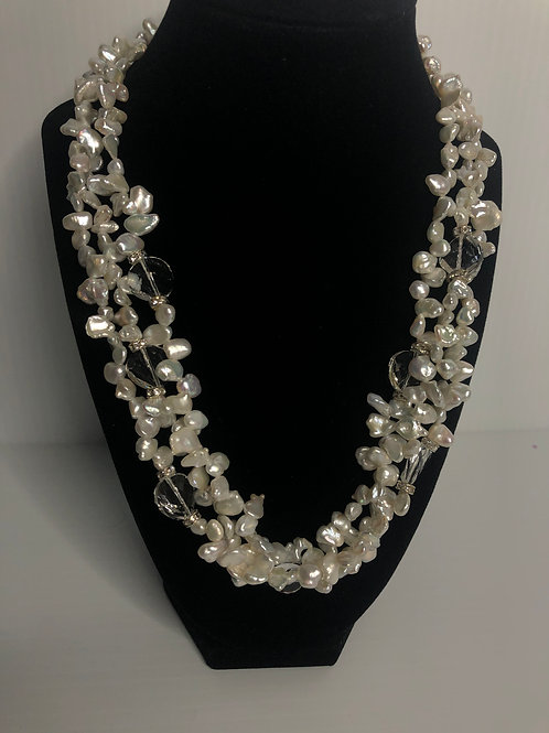 Triple strand white FWP necklace with clear crystals in S/S