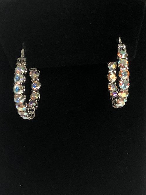 Aurora Borealis Swarovski crystal stainless steel hoop earring