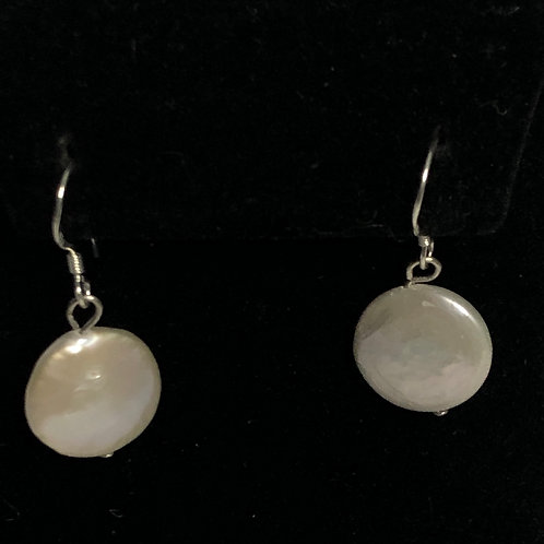 10-11 MM COIN Freshwater Cultured Pearl sterling earrings