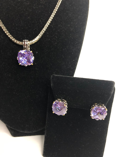 Designer look Lilac pendant & Lever Back Earrings