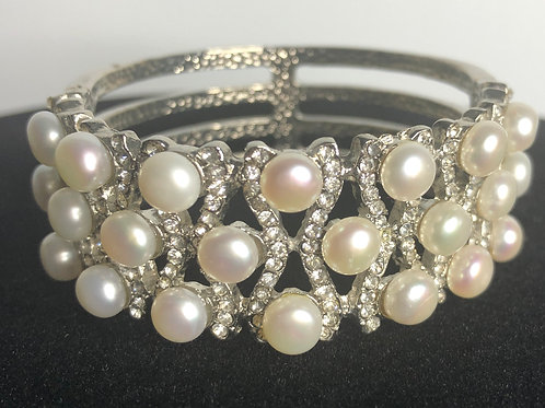 3 ROWS OF Freshwater pearl bracelet with cubic zircon stones
