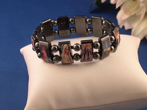 Hematite wide religious elastic bracelet