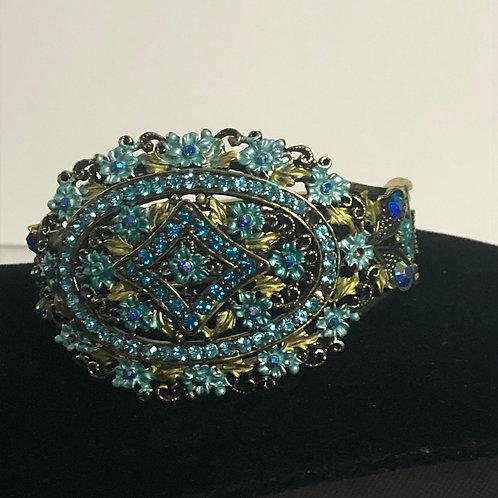 Turquoise and green hand enameled hinged bracelet