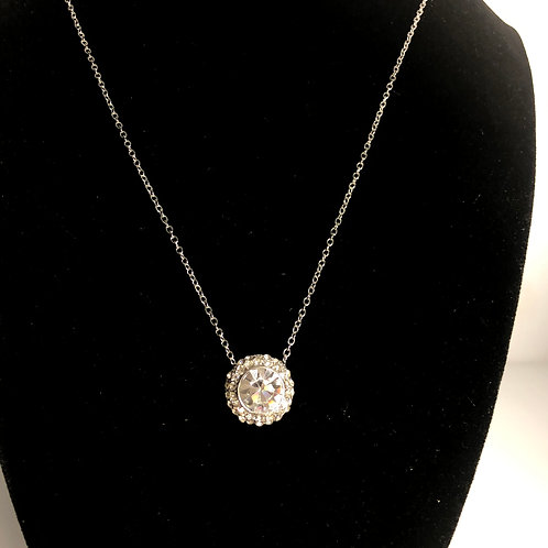Small round clear Austrian crystal pendant
