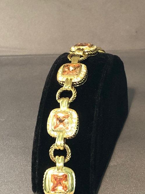 Designer line bracelet with champagne cubic zircon