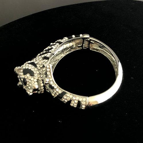 SILVER Panther hinged bracelet in Swarovski crystals & green eye