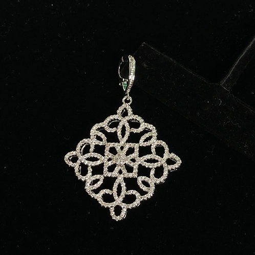 Triangle larger silver enhancer with encrusted Austrian crystals