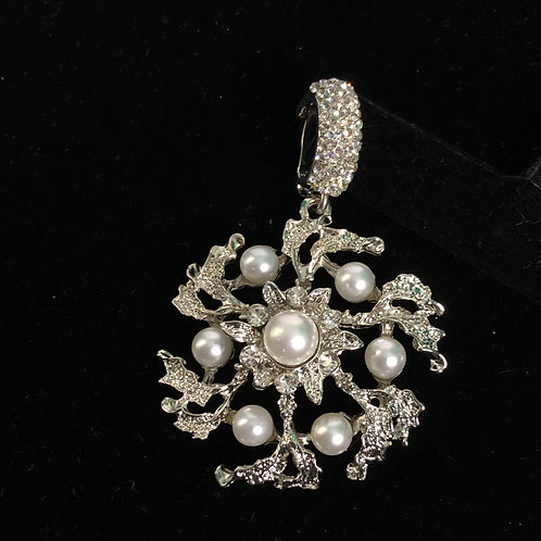 Large silver flower enhancer with white pearls and silver clip