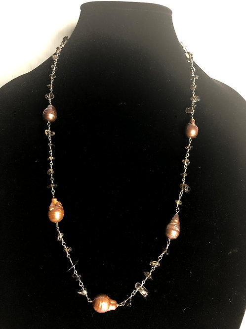 Long brown baroque FWP necklace set in sterling silver