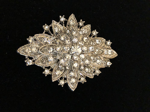 Silver dramatic crystal brooch