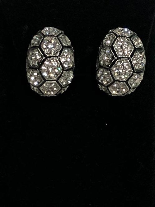 Checkered Austrian crystal clip on earring