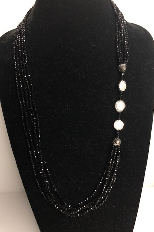 Multi strand BLACKCzech crystals with white Freshwater Cultured coin pearls a