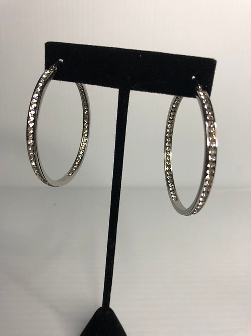 Large sized silver stainless steel hoop CLEAR Swarovski crystals