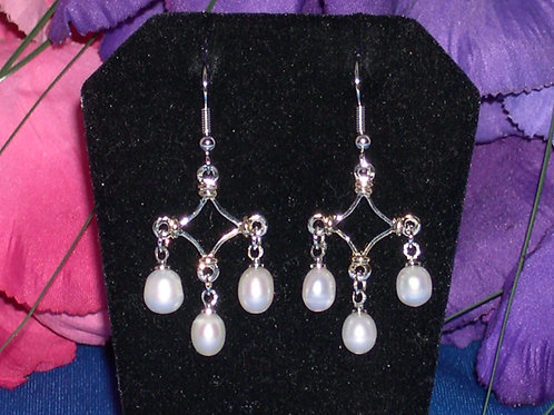 Silver and gold chandelier pearl earrings
