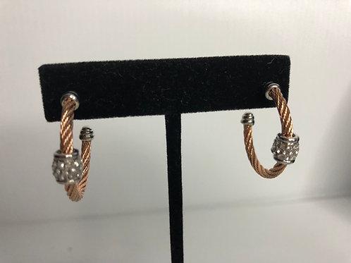 Medium Designer ROSE GOLD stainless steel hoop earring
