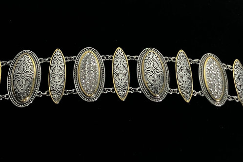 Two tone designer look line bracelet with intricate work