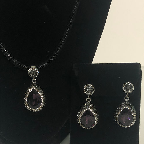 Black mesh necklace with TEAR DROP SET in PURPLE