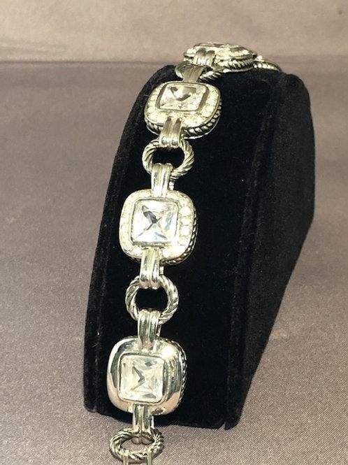 Designer line bracelet with clear cubic zircon square stones