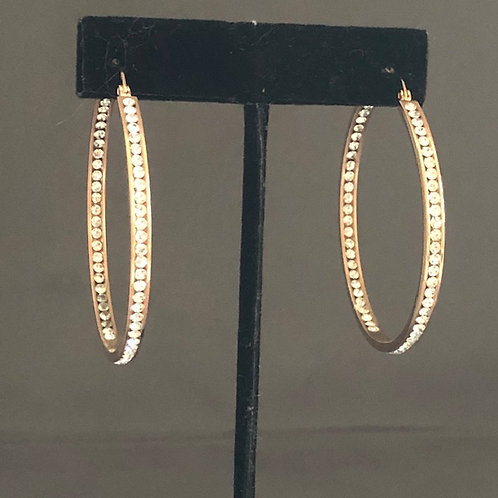 Large GOLD stainless steel hoop earring with CLEAR Swarovski
