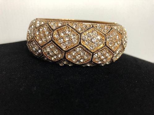 Wide gold & black Austrian checked crystal bracelet