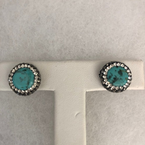 Pierced stud earrings in white SMALLER coin TURQUOISE