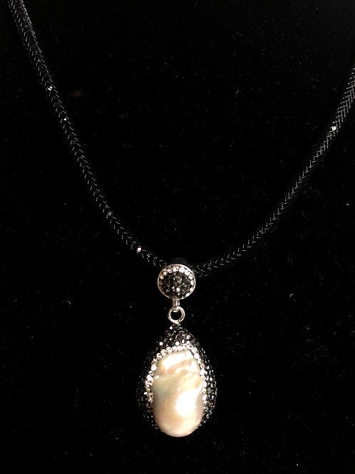 Large UNIQUE white FWP pendant surrounded by Swarovski