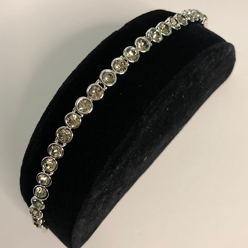 Swarovski crystal round line bracelet  -Light Gray